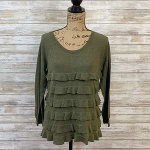 J. Crew Green Ruffle Sweater Size M